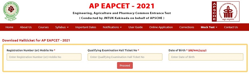 sche.ap.gov.in AP EAMCET 2021 Hall Ticket Download, Manabadi EAPCET Exam Date
